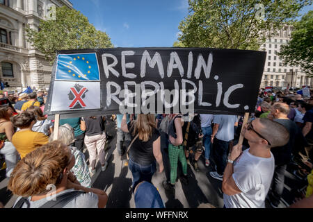London, UK. 31st August, 2019. Thousand gather in Whitehall in a mass protest against PM Boris Johnson's move to suspend parliament. Credit: Guy Corbishley/Alamy Live News - Stock Photo