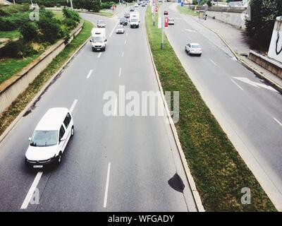 High Angle View Of Traffic On Road In City - Stock Photo