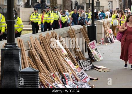 Anti Boris Johnson demonstration in front of Downing Street No 10, 31st Aug 2019, London UK - Stock Photo