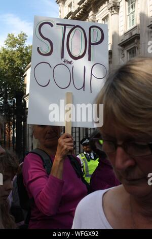 London, UK, 31st August, 2019. Protesters gather outside Downing Street to protest against the prorogation of Parliament by Prime Minister Boris Johnson, London, UK. Credit: Helen Garvey/Alamy Live News - Stock Photo
