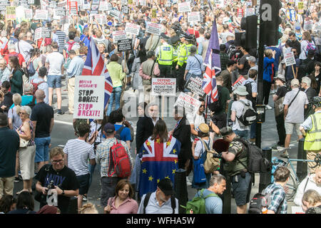 London, UK. 31st August 2019. Thousands of  Pro Remain supporters and activists  march down Whitehall to demonstrate against the decision by the government to suspend Parliament from 9 September to 14 October  by Prime Minister Boris Johnson Credit: amer ghazzal/Alamy Live News - Stock Photo