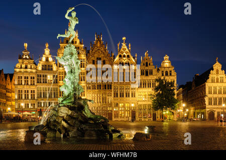 Antwerp Grote Markt with famous Brabo statue and fountain at night, Belgium - Stock Photo