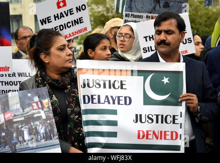Several hundred people protested in Piccadilly Gardens, Manchester, uk, on 31st August 2019, arguing for more freedom in the disputed Himalayan region of Kashmir. India has revoked the special status for its part of the region and clamped down on communications and movement. - Stock Photo