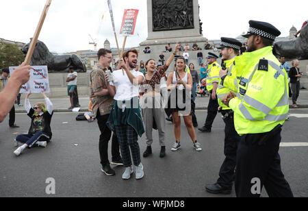 London, UK. 31st August 2019. Anti-Brexit protestors block the road in Central London to complain about the British Prime Minister's decision to shut down parliament to fo force through a no deal Brexit in London on Saturday, August 31, 2019. Protests are taking place across the country to force the government to re-think their decision.           Photo by Hugo Philpott/UPI Credit: UPI/Alamy Live News - Stock Photo