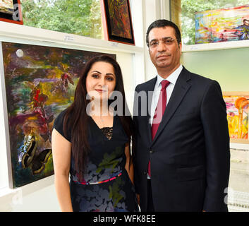 South Manchester, UK, 31st August 2019. Iraqi annual clebrations at Parrswood High School, South Manchester. picutred is fine artist Rana Helmy who originaly studed in Bagdad before marrying and coming to live in England. and the Iraqi Ambassasor Dr Salah Al-Tamimi - Stock Photo