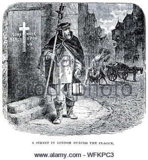 Great Plague of London 1665, vintage illustration from 1900 - Stock Photo