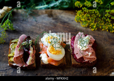 Selection of Scandinavian open sandwiches - Stock Photo