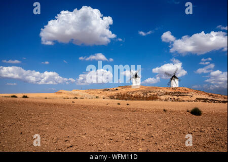 Windmills of Don Quijote in La Mancha_Tembleque_Spain - Stock Photo