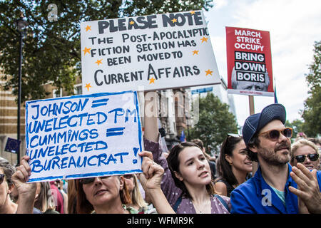 London,UK. 31 August 2019. Thousands marched and blocked central London roads in  a protest to defend democracy and against the prorogation of Parliament. David Rowe/Alamy Live News. - Stock Photo