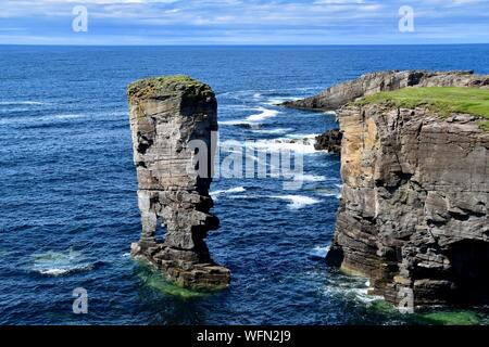 Yesnaby Castle sea stack Orkney. - Stock Photo