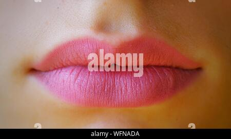 Cropped Image Of Woman Lips - Stock Photo