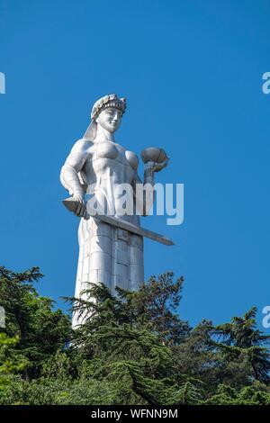 Georgia, Tbilisi, Kartlis Deda monument or Mother of Georgia on the top of the Sololaki hill is the symbol of Tbilisi - Stock Photo