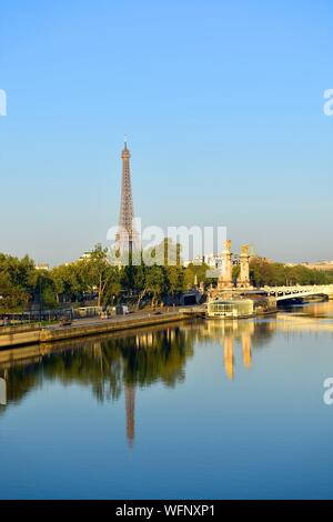 France, Paris, area listed as World Heritage by UNESCO, the Alexander III bridge and the Eiffel Tower on the background - Stock Photo