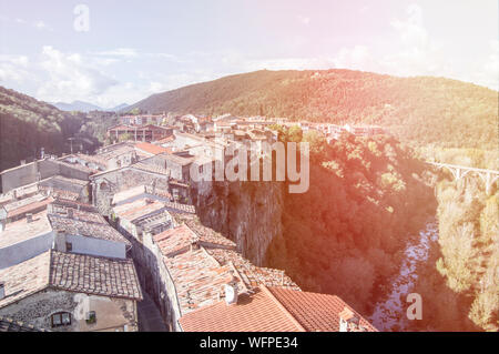 The village of Castellfollit de la roca in Girona - Stock Photo