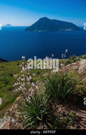 Italy, Sicily, Eolian Islands listed as World Heritage by UNESCO, Lipari, islands of Salina, Alicudi and Filicudi from chiesa vieja of Quattropani - Stock Photo