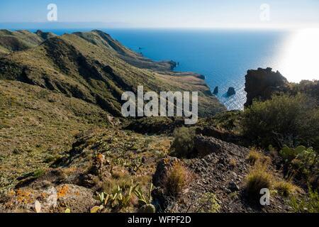 Italy, Sicily, Eolian Islands listed as World Heritage by UNESCO, Lipari, vallon de Castellaro - Stock Photo