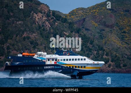 Italy, Sicily, Eolian Islands listed as World Heritage by UNESCO, Lipari - Stock Photo