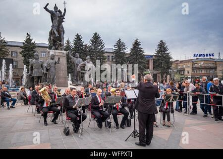 Armenia, Shirak region, Gyumri, historic district or Kumayri, Freedom square or Vartanants square, Victory Day on May 9, celebration of the victory of the Red Army on Nazi Germany in 1945 - Stock Photo