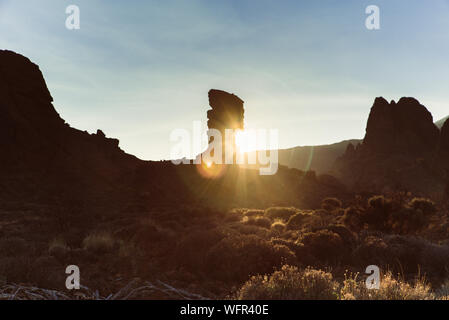 Sunset over Roques de Garcia in Teide National Park Tenerife Canary Islands Spain - Stock Photo