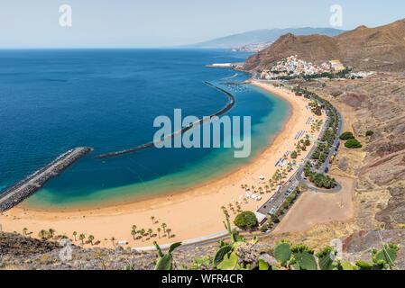 Panoramic view of the beautiful Teresitas beach in Tenerife Canary islands Spain