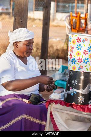 Zezuru African woman street vendor - Stock Photo