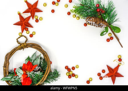 Directly Above Shot Of Christmas Decorations On White Background - Stock Photo