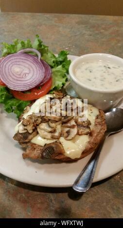 Mushroom And Turkey Burger On Plate - Stock Photo