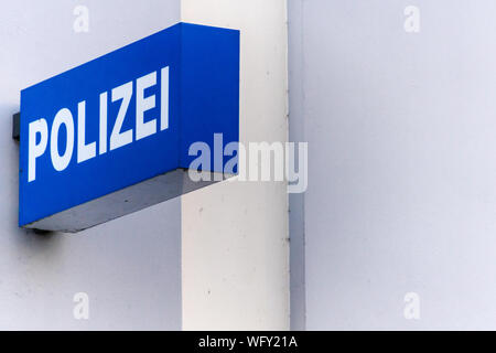 Low Angle View Of Police Sign - Stock Photo
