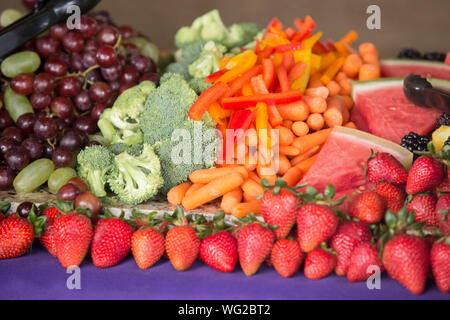 Close-up Of Various Fruits And Vegetables For Sale - Stock Photo