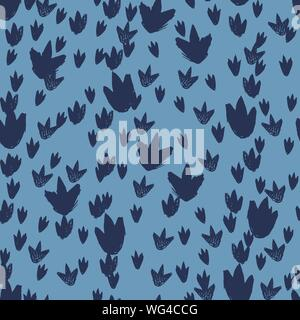 Vector blue dinosaur footprints repeat pattern. Perfect for textile, giftwrap and wallpaper. - Stock Photo