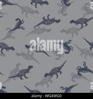 Vector dinosaur meat eaters sketch repeat pattern. Perfect for textile, giftwrap and wallpaper. - Stock Photo