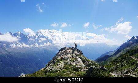Mountain Goat On Top Of A Cliff - Stock Photo