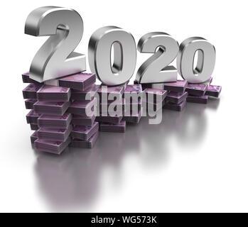 Bad Turkish Economy 2020 (isolated on white background) - Stock Photo