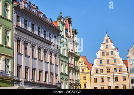 Beautiful multi colored houses at the market square in Wroclaw, Poland - Stock Photo
