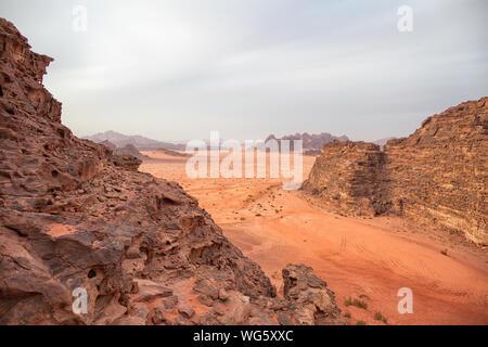 Sunset over Wadi Rum Desert, Jordan - Stock Photo