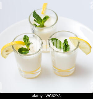 High Angle View Of Fresh Drinks Served On Table - Stock Photo