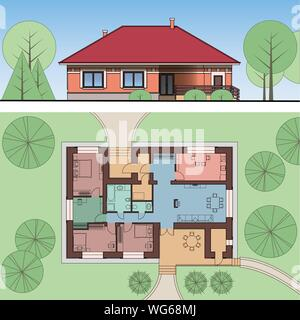 Architectural facade and plan of a house on the land. Views of single-storey cottage. Top view with furniture. Vector realistic illustration EPS 10. - Stock Photo