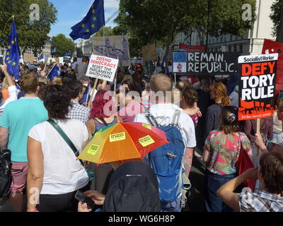 Thousands gather in Whitehall on 1st September 2019 to protest against Boris Johnsons's plans to prorogue parliament. - Stock Photo