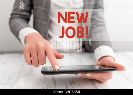 Word writing text New Job. Business photo showcasing recently having paid position of regular employment Business concept with mobile phone in the han - Stock Photo
