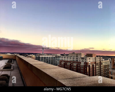 pink sky during sunset in the nation's capitol - Stock Photo
