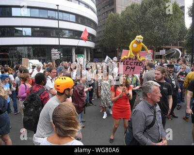 Demonstrators take to the streets and Westminster Bridge to protest against Boris Johnsons's  plan to prorogue parliament on 1st September 2019. - Stock Photo