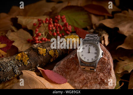 Clock in the absence of a minute to start the new year 2020 - Stock Photo
