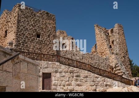 Ajloun Castle in north-western Jordan. Arab and crusaders fort. - Stock Photo