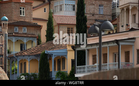 Traditional wooden carving balconies of Old Town of Tbilisi, Georgia - Stock Photo