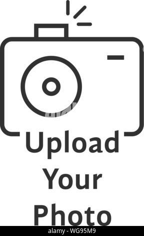 thin line black camera logo like upload your photo - Stock Photo