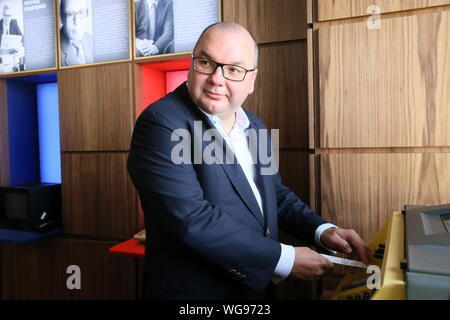 Moscow, Russia. 01st Sep, 2019. MOSCOW, RUSSIA - SEPTEMBER 1, 2019: TASS Russian news agency general director Sergei Mikhailov at an event marking the agency's 115th birthday. Vladimir Gerdo/TASS Credit: ITAR-TASS News Agency/Alamy Live News - Stock Photo