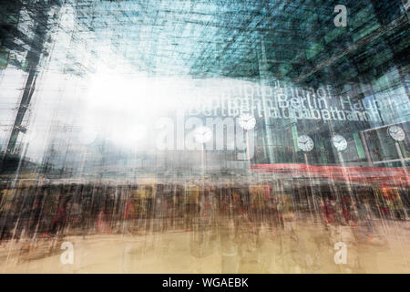 BERLIN, GERMANY. MARCH 14, 2016:  Double exposure artwork of the front entrance of the Hauptbahnhof Berlin, the main railway station. - Stock Photo