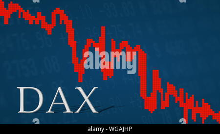 The German blue chip stock market index DAX is falling. The red graph next to the silver DAX title on a blue background is showing downwards and... - Stock Photo