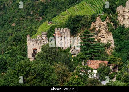 panoramic view on Brunnenburg, Castel Fontana. - Stock Photo