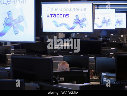 Moscow, Russia. 01st Sep, 2019. MOSCOW, RUSSIA - SEPTEMBER 1, 2019: Editorial office at the TASS Russian news agency headquarters in central Moscow as the agency celebrates the 115th birthday. Vladimir Gerdo/TASS Credit: ITAR-TASS News Agency/Alamy Live News - Stock Photo